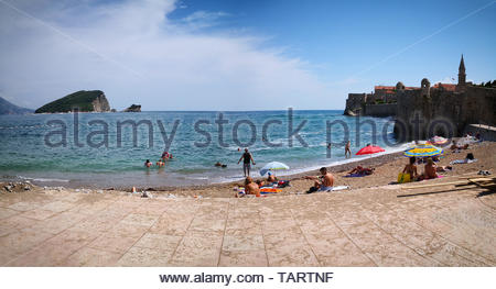 a panoramic view of a the Budva riviera, is the center of Montenegrin tourism, known for its well-preserved medieval walled city, sandy beaches - Stock Photo