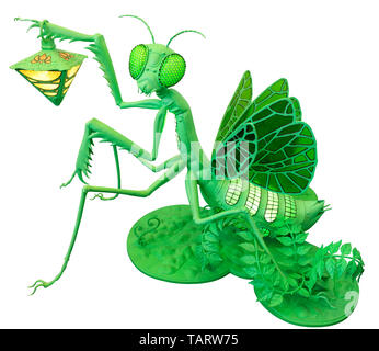 Lamp toy isolated on white background - female mantis sits on a green lawn and holds a yellow lamp. - Stock Photo