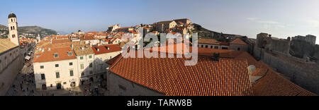 cityscape, a panoramic view of the orange roofs and buildings of the old town of Dubrovnik city in the adriatic coastline - Stock Photo