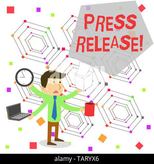 Writing note showing Press Release. Business concept for statement from a demonstrating or group that is given to newspapers Stressed Male Employee Ma - Stock Photo