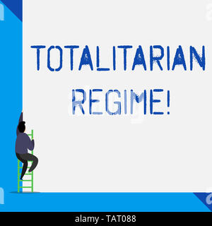 Writing note showing Totalitarian Regime. Business concept for mode of government that prohibits opposition parties - Stock Photo