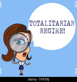 Writing note showing Totalitarian Regime. Business concept for mode of government that prohibits opposition parties Woman Looking Trough Magnifying Gl - Stock Photo