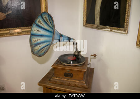 Old vinyl gramophone with blue horn (Speaker), exposed in Kikinda city museum, Serbia - Stock Photo