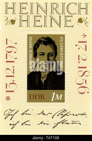 Historic postage stamps, GDR, Historische Briefmarke der DDR, Heinrich Heine, Deutsche Demokratische Republik, 1972 - Stock Photo