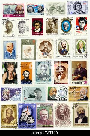 Historic postage stamps, international personalities, Historische Briefmarken, internationale Persönlichkeiten - Stock Photo