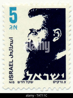 Historic postage stamps from Israel, Historische Briefmarken, Dr. Theodor Herzl, 1986, Israel, Asien - Stock Photo