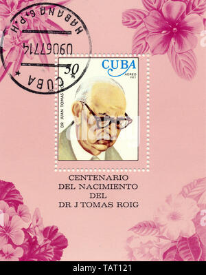 Historic postage stamps from Cuba, Historische Briefmarken, Andenken an den Botaniker Juan Tomas Roig , 1977,  Kuba - Stock Photo