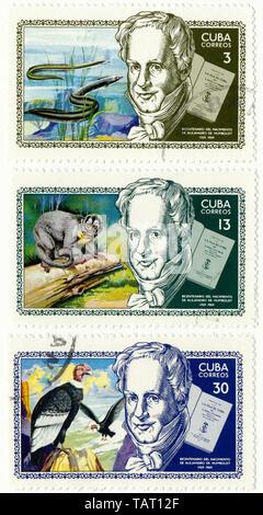Historic postage stamps from Cuba, Historische Briefmarken, Andenken an Alexander von Humboldt, 1969,  Kuba - Stock Photo