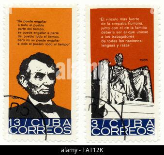 Historic postage stamps from Cuba, Historische Briefmarken, Andenken an den amerikanischen Präsidenten Abraham Lincoln, 1965,  Kuba, Nordamerika - Stock Photo