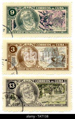Historic postage stamps from Cuba, Historische Briefmarken, Ernest Hemingway, 1963, Kuba, Karibik - Stock Photo