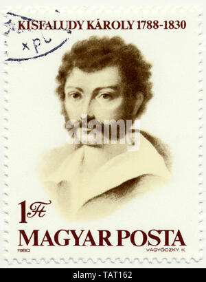 Historic postage stamps from Hungary, Historische Briefmarke, Karoly Kisfaludy, 1980, Ungarn, Europa - Stock Photo