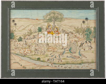 An Indian miniature, Nathadwara School, signed Kubiram Gopilal, early 20th century, Gouache on paper. Depiction of Krishna and Radha under a tree, after decorating the cows. Signed at lower right 'Khubiram Gopilal'. Framed and under glass. Dimensions of frame 29.5 x 39.5 cm. historic, historical, Additional-Rights-Clearance-Info-Not-Available - Stock Photo