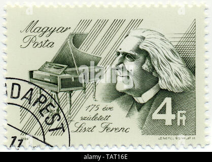 Historic postage stamps from Hungary, Historische Briefmarke, Franz Liszt, 1986, Ungarn, Europa - Stock Photo
