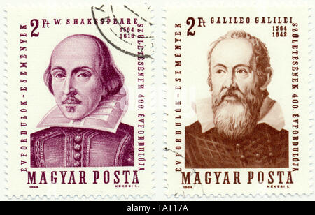 Historic postage stamps from Hungary, William Shakespeare, Galileo Galilei, 1964 - Stock Photo