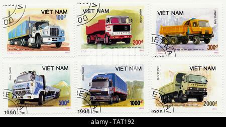 Historic postage stamps from Vietnam, Historische Briefmarken aus Vietnam, 1990, internationale Lastkraftwagen, Volvo, Hino, DAF, Mack, Iveco, Tatra - Stock Photo