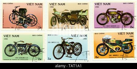 Historic postage stamps from Vietnam, Historische Briefmarken aus Vietnam,1985, internationale Entwicklungsgeschichte des Motorrades, Simplex, Cleveland, Harley-Davidson, Minarelli - Stock Photo