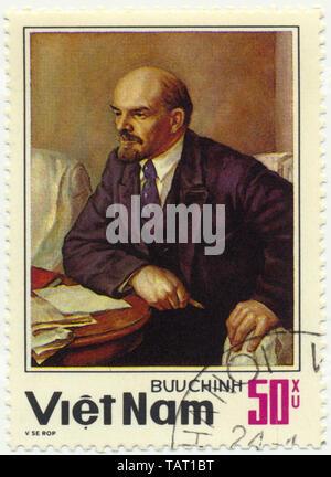Historic postage stamps from Vietnam, Vladimir Ilyich Ulyanov, Lenin, painting by Serov, Historische Briefmarken, Wladimir Iljitsch Uljanow, Lenin, Gemälde von Serow, 1984, Vietnam, Asien - Stock Photo