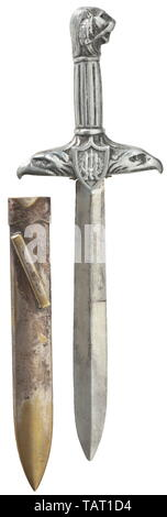 An honour dagger presented to war invalids - 'Pugnale d'Onore per Mutilati e Invalidi', Nickel-plated blade of diamond section, one half double-edged towards the point. The aluminium handle forged in one piece, the quillons terminating into eagle-head finials and bearing the shield with fasces and/or the war invalids' badge. The grip ribbed lengthwise with a lion's head pommel. Silver-plated (rubbed) brass scabbard with suspension bar on the back. Length circa 33 cm. Extremely rare weapon of honour, seldom awarded. Italian, Europe, European, hist, Additional-Rights-Clearance-Info-Not-Available - Stock Photo