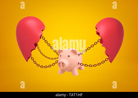 3d rendering of pink piggy bank suspended on chains between two parts of broken heart on yellow background.