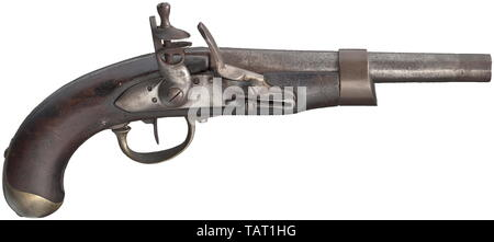 Small arms, pistols, cavalry flintlock pistol, calibre 17,5 mm, France, 1813, Editorial-Use-Only - Stock Photo