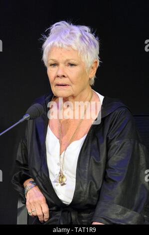 English film, stage and television actor,  and author Dame Judi Dench at the Cheltenham Literature Festival, October 12, 2014. - Stock Photo