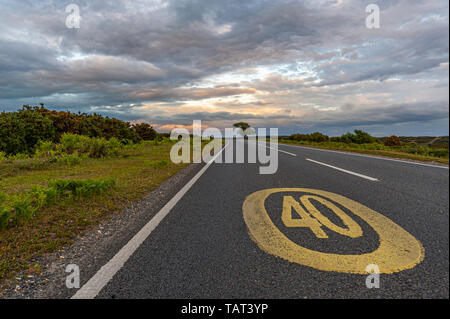 40 mph speed limit sign painted in yellow on the tarmac of the road, New Forest, Hampshire, UK - Stock Photo