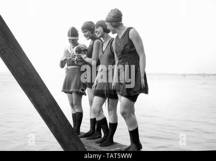 A group of young women happily pose on a pier  with a puppy overlooking Lake Mendota in Madison, Wisconsin. - Stock Photo