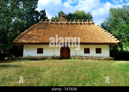 Old traditional Ukrainian rural house with a thatched roof and a wicker fence in the garden with green grass and copy space against a blue sky with a  - Stock Photo