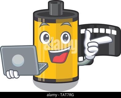 With laptop camera roll in the mascot shape - Stock Photo