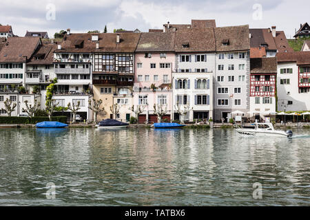 River Rhine and the town of Eglisau, Switzerland - Stock Photo