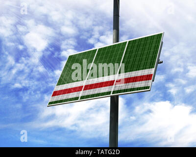 Solar panels against a blue sky with a picture of the flag of Chechen Republic of Ichkeria - Stock Photo