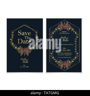 Golden Roses Wedding Invitation Template Set. Luxury and Vintage Design Concept of Save the Date and Invitation Card with Golden Elements and Dark Blu - Stock Photo
