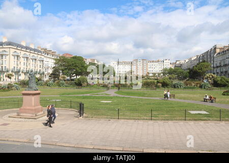 A VIEW OF WARRIOR SQUARE IN ST. LEONARDS-ON-SEA ON A SUNNY DAY - Stock Photo