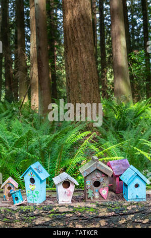 Tiny cute and colorful homemade fairy house in a whimsical style