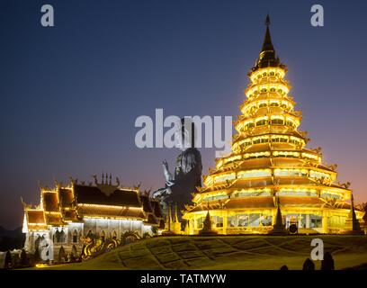 Illuminated Wat Huay Pla Kang Temple at dusk, giant Guan Yin statue, Kuan Yin, Chiang Rai, Northern Thailand, Thailand
