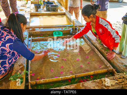 PINDAYA, MYANMAR - FEBRUARY 19, 2018: The Shan Paper production in progress - young artisans create the pattern of flower petals and leaves on surface - Stock Photo