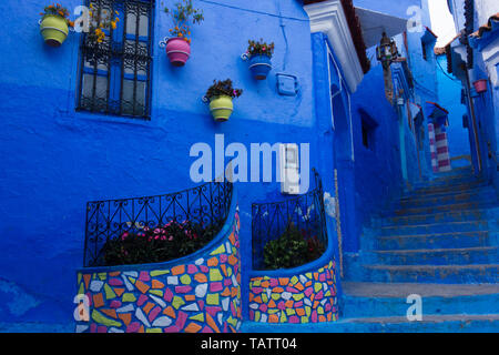 Traditional moroccan architectural details in the streets of the Blue City, Chefchaouen, Morocco - Stock Photo