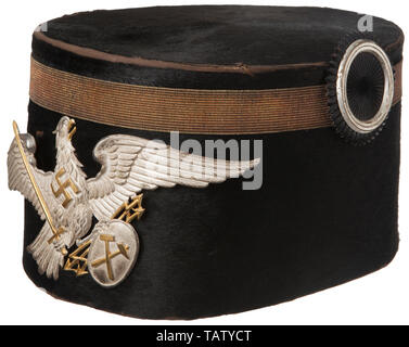 IMPERIAL GERMANY UNTIL 1914, A shako for the Prussian state mining service Black felt body with gold tress, silver insignia, blue satin lining with loose brown sweatband, size 57. CCN10169, Additional-Rights-Clearance-Info-Not-Available - Stock Photo