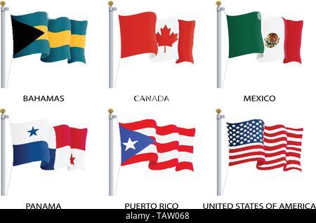 Realistic waving flags of North America continent. USA, Canada, Bahamas, Mexico, Panama, Costa Rico flag on flagpole. Patriotic symbols isolated - Stock Photo