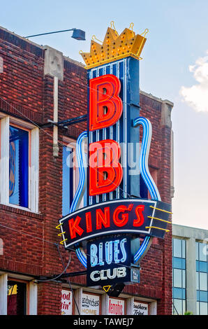 A sign advertises B.B. King's Blues Club on Beale Street, Sept. 12, 2015, in Memphis, Tennessee. - Stock Photo