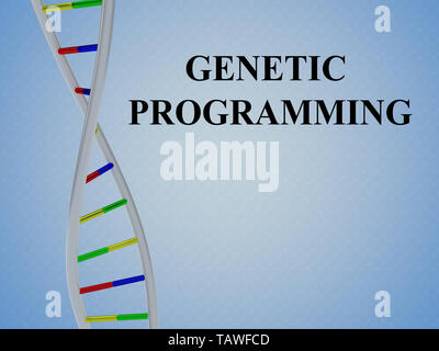 3D illustration of GENETIC PROGRAMMING script with DNA double helix , isolated on colored pattern. - Stock Photo