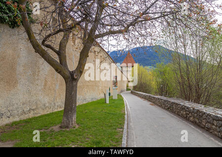 Small medieval town of Glurns in Vinschgau valley, South Tyrol - Stock Photo