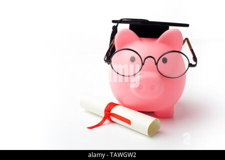 College graduate student diploma piggy bank isolated on white background - Stock Photo