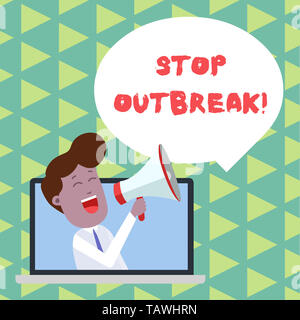 Word writing text Stop Outbreak. Business photo showcasing prevent incident in which showing facing a similar illness Man Speaking Through Laptop into - Stock Photo