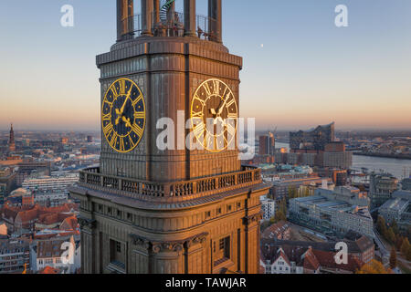 Viewing platform on the steeple of St. Michaels Church in Hamburg - Stock Photo