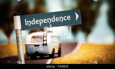 Street Sign the Direction Way to Independence - Stock Photo