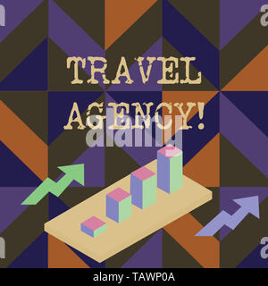 Handwriting text writing Travel Agency. Conceptual photo Agency that makes the necessary arrangements for travelers Colorful Clustered 3D Bar Chart Gr - Stock Photo