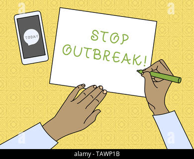 Conceptual hand writing showing Stop Outbreak. Concept meaning prevent incident in which showing facing a similar illness Top View Man Writing Paper P - Stock Photo