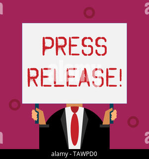 Writing note showing Press Release. Business concept for statement from a demonstrating or group that is given to newspapers - Stock Photo
