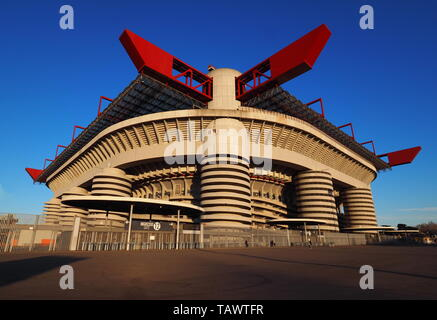 Stadio Giuseppe Meazza commonly known as San Siro, is a football stadium in Milan, Italy, which is the home of A.C. Milan and Inter Milan - Stock Photo